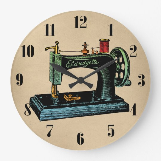 Sewing Machine Vintage Illustration Large Clock Zazzle Com