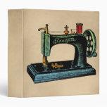 Sewing Machine Vintage Illustration Vinyl Binders