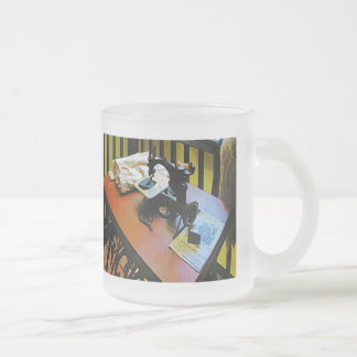 Sewing Machine with Cloth 10 Oz Frosted Glass Coffee Mug