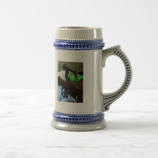 Sewing Machine With Green Cloth Beer Stein