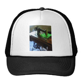 Sewing Machine With Green Cloth Mesh Hats