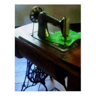 Sewing Machine With Green Cloth Postcard