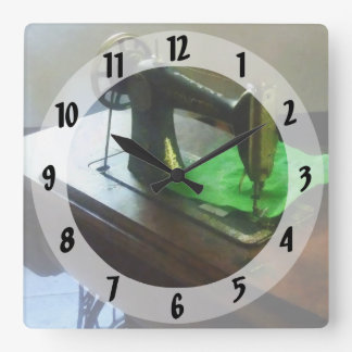 Sewing Machine With Green Cloth Square Wall Clock
