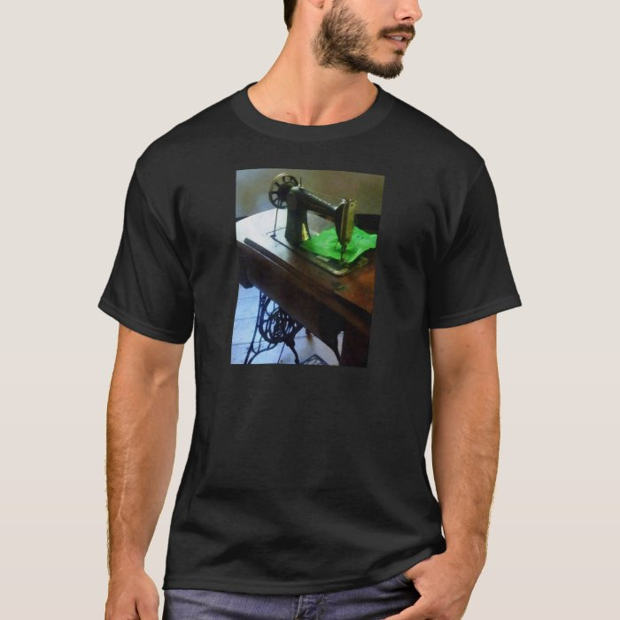 Sewing Machine With Green Cloth T-Shirt