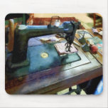 Sewing Machine With Sissors Mouse Pad