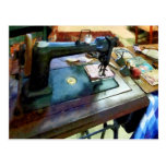 Sewing Machine With Sissors Postcard