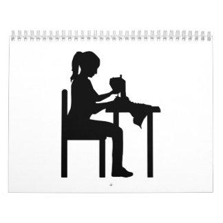 Sewing machine woman calendar