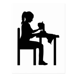 Sewing machine woman postcard
