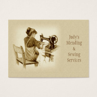 Sewing, Mending Business Card: Sepia Drawing, Girl Business Card