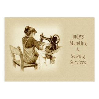 Sewing, Mending Business Card: Sepia Drawing, Girl Large Business Card