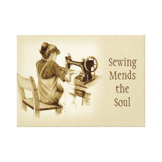 Sewing Mends Soul: Sepia Drawing, Machine Stretched Canvas Prints