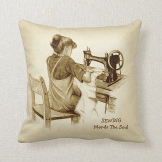 Sewing Mends Soul: Sepia Pencil Art, Girl Sewing Throw Pillows