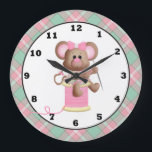 "Sewing Mouse Crafting Room wall clock<br><div class=""desc"">design by Kristi W. designs at www.digiwebstudio.com</div>"