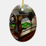 Sewing - My sewing room Double-Sided Oval Ceramic Christmas Ornament