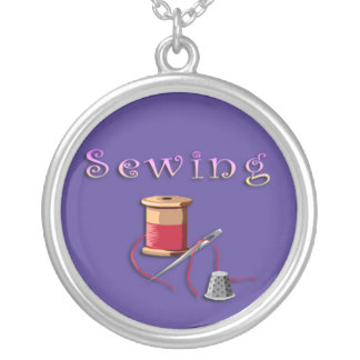 Sewing Needle and Thread Silver Plated Necklace