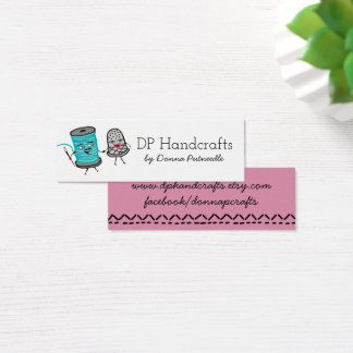 sewing needle spool of thread thimble love mini business card