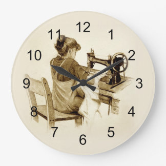 Sewing on Old Fashioned Sewing Machine: Pencil Art Large Clock