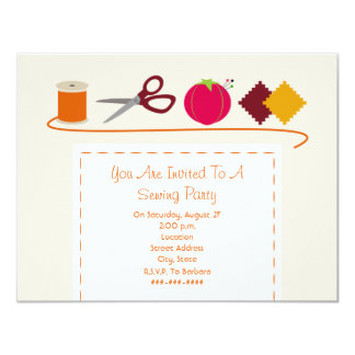 Sewing Party Thread, Scissors, Pin Cushion, Swatch 4.25x5.5 Paper Invitation Card