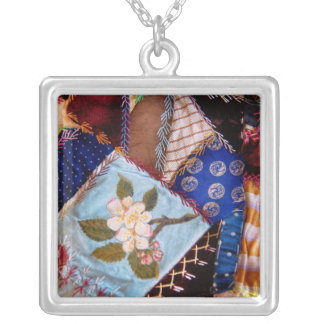 Sewing - Patchwork - Grandma's quilt Square Pendant Necklace