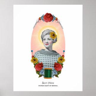 Sewing Patron Saint Vintage Original Art Print