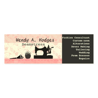 Sewing Pins Machine Mannequin Pink Skinny Handmade Double-Sided Mini Business Cards (Pack Of 20)