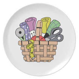 SEWING QUILTING BASKET DINNER PLATE