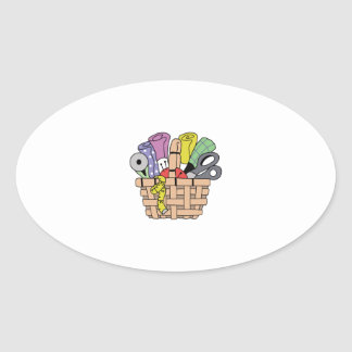 SEWING QUILTING BASKET OVAL STICKER