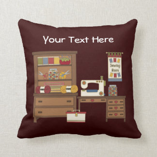 Sewing Room 1 (Personalized) Throw Pillows