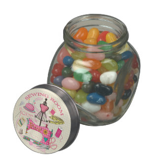 Sewing Room Glass Candy Jar