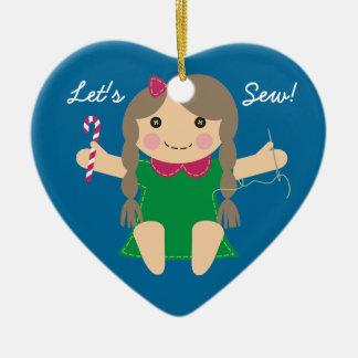 Sewing seamstress doll Christmas tree ornament