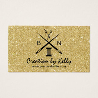 Sewing Seamstress Dressermaker Gold Glitter Business Card