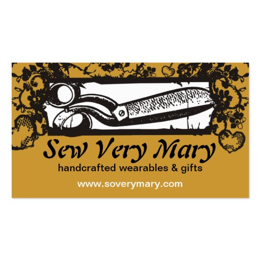 sewing seamstress embroidery scissors black lace business cards