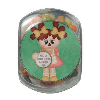 Sewing Seamstress Raggedy Doll Glass Candy Jar