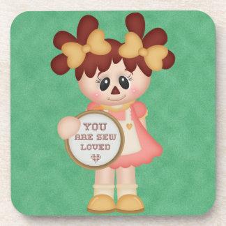 Sewing Seamstress Raggedy Doll Coasters