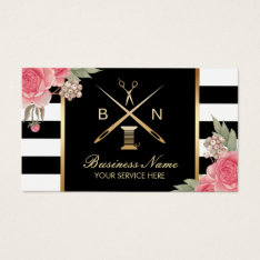 Sewing Seamstress Thread & Needles Vintage Floral Business Card at Zazzle
