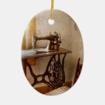 Sewing - She used to love this machine Double-Sided Oval Ceramic Christmas Ornament