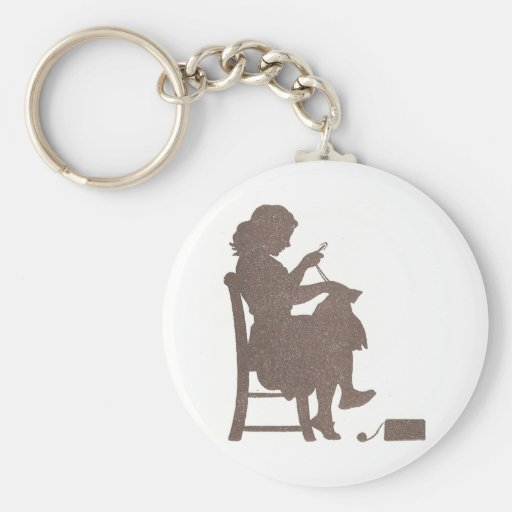 Sewing Silhouette Basic Round Button Keychain