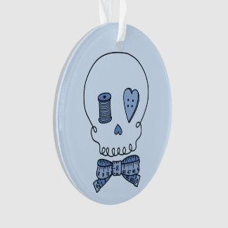 Sewing Skull (Blue Back) Ornament