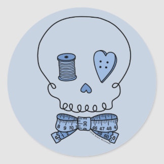 Sewing Skull (Blue Background) Classic Round Sticker