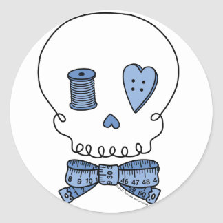 Sewing Skull (Blue) Classic Round Sticker
