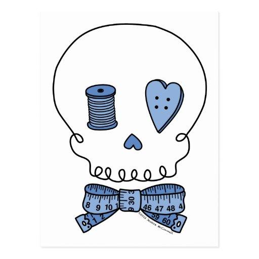 Sewing Skull (Blue) Postcard
