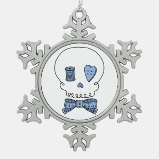 Sewing Skull (Blue) Snowflake Pewter Christmas Ornament
