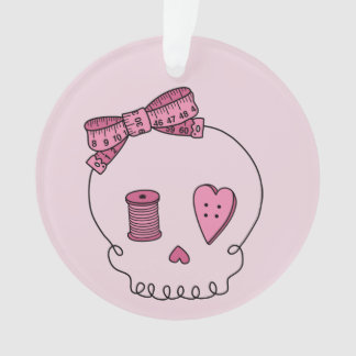 Sewing Skull (Pink Back) Ornament