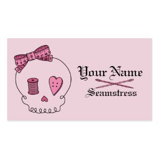 Sewing Skull (Pink Background) Double-Sided Standard Business Cards (Pack Of 100)