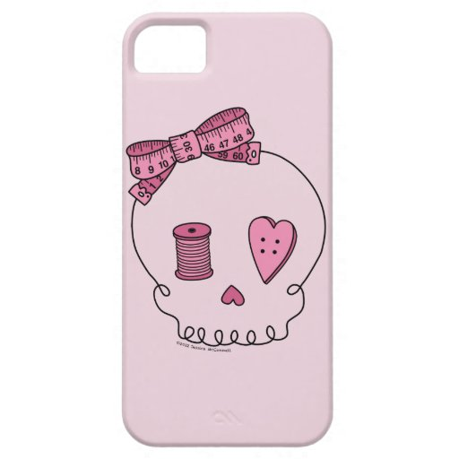 Sewing Skull (Pink Background) iPhone 5 Cases