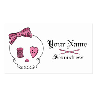 Sewing Skull (Pink) Double-Sided Standard Business Cards (Pack Of 100)