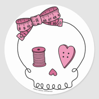 Sewing Skull (Pink) Classic Round Sticker
