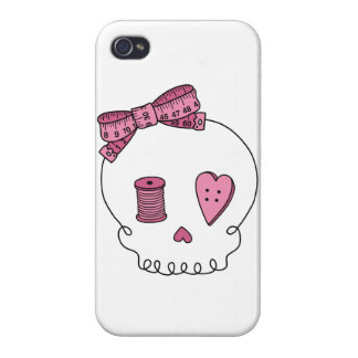 Sewing Skull (Pink) iPhone 4/4S Covers