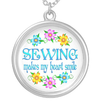 Sewing Smiles Round Pendant Necklace