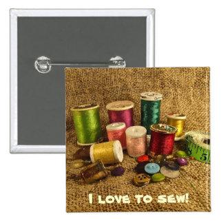 Sewing Supplies Pinback Button